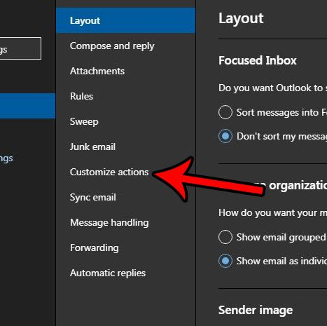 outlook.com customize actions