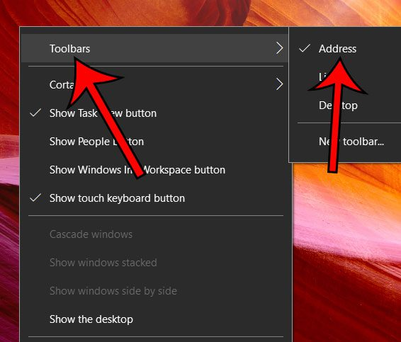 how to remove address toolbar in windows 10