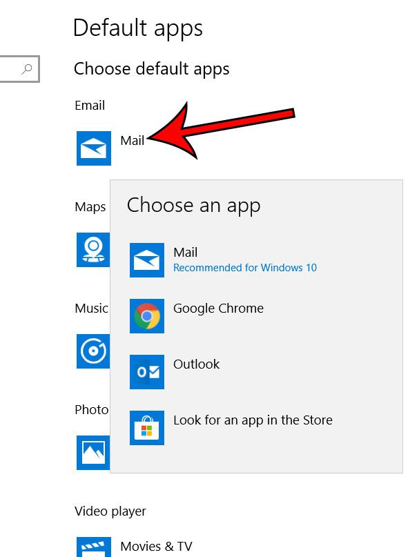how to change the default mail app in windows 10