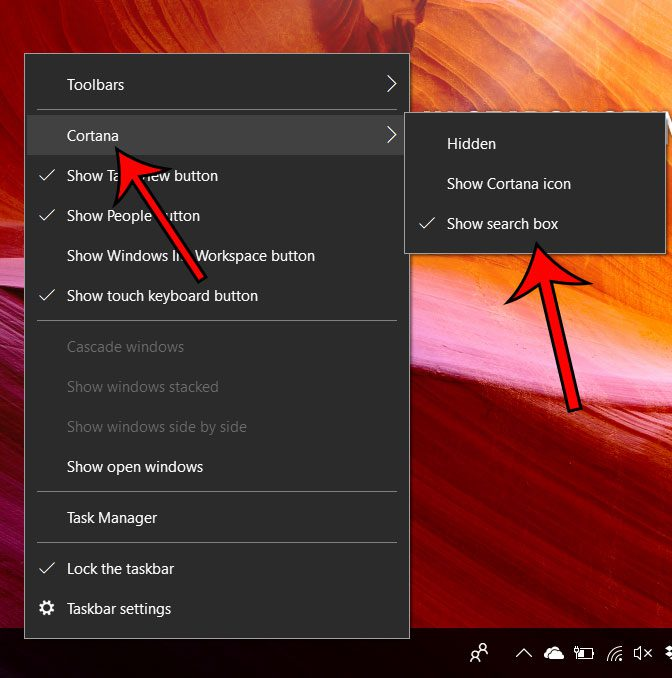 show or hide the search box in windows 10
