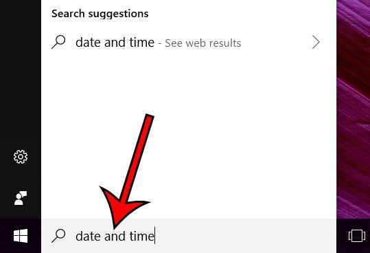 type date and time into the search field