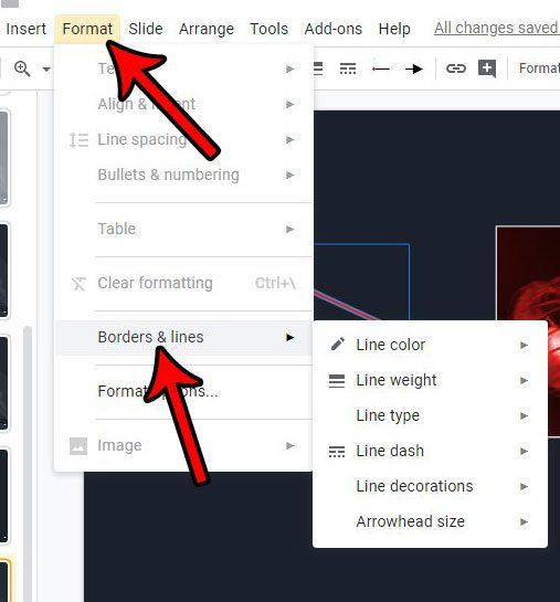 how to change color and size of google slides arrow