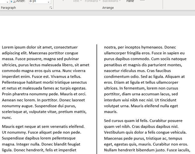 sample word document with column dividers