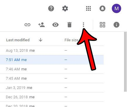 open the google drive more actions menu