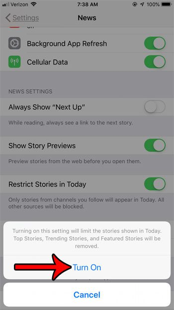 only show stories from followed channels in today on iphone news