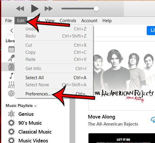 open itunes preferences menu