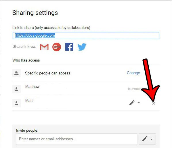 how to remove sharing permissions for someone in google docs