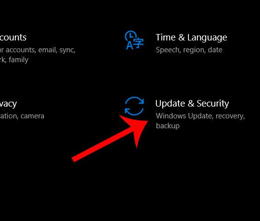 windows 10 update and security menu