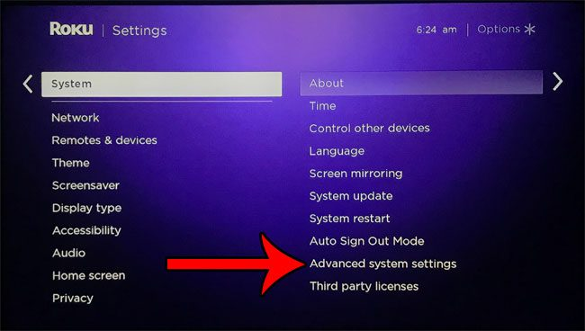 select the advanced system settings option