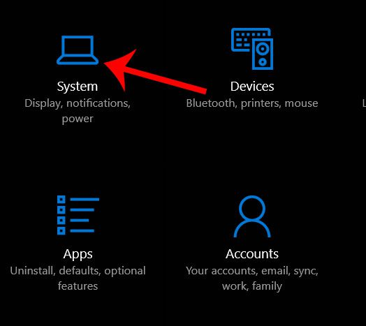 windows 10 system settings