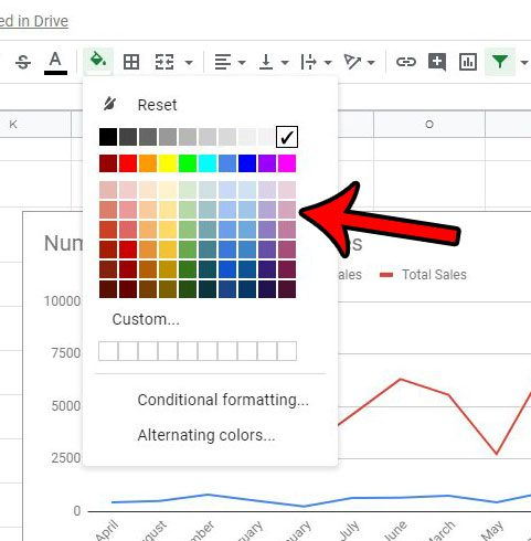 how to apply color to a column in google sheets