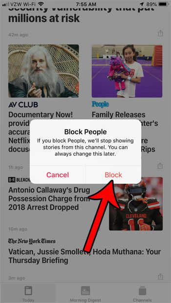 how block source from appearing in today on apple news