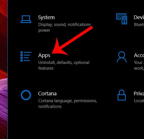 choose apps from the settings menu