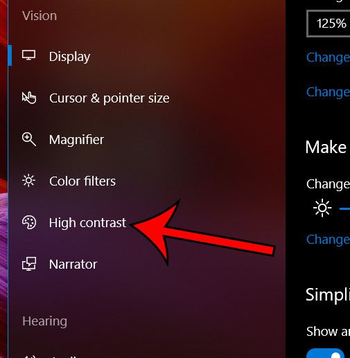 select the high contrast tab