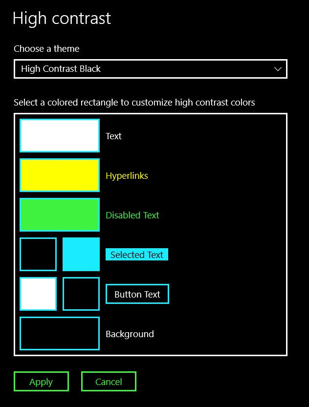 windows 10 high contrast mode options