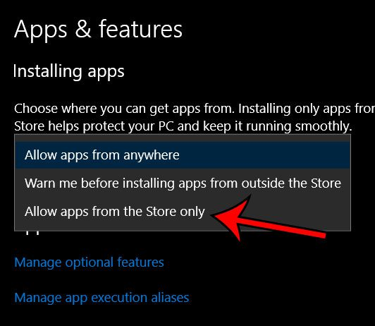 only allow apps from microsoft store in windows 10