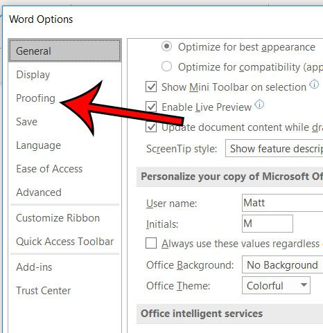 microsoft word proofing options