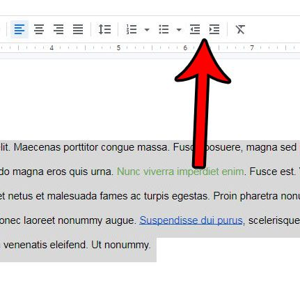 how to indent an entire document in google docs