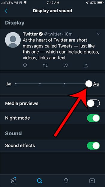how to change the size of the text in the twitter iphone app