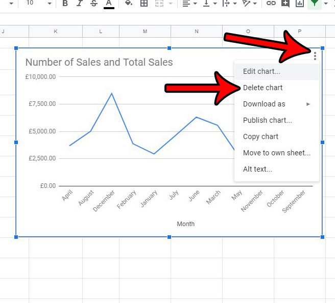 how to delete a chart or graph in google sheets