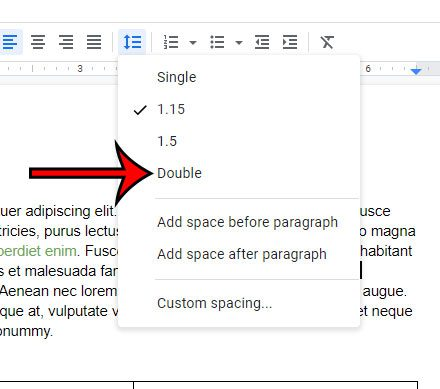 easy way to double space in google docs