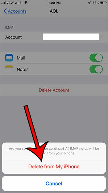 how to remove email account from iphone 6