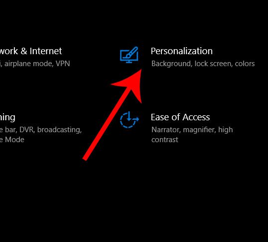 open personalization settings