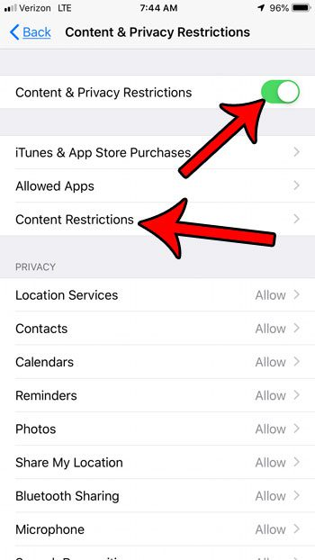 enable content restrictions on iphone