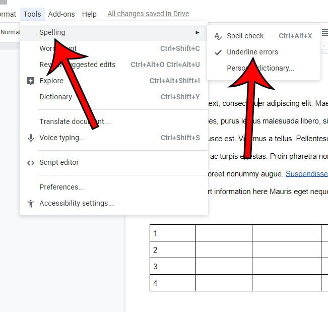 how to stop underlining spelling mistakes in google docs