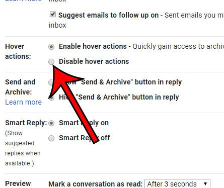 how to disable hover actions in gmail
