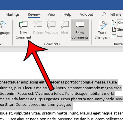 how to insert a comment in word 2010