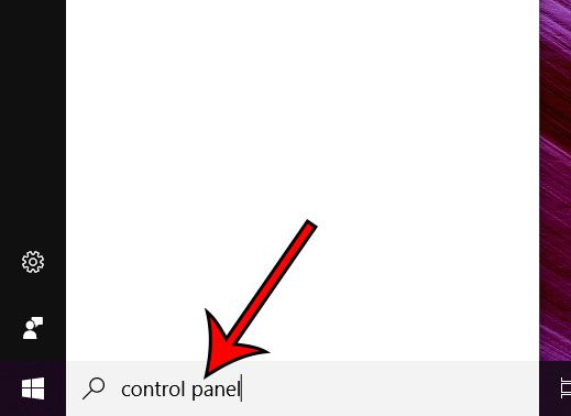 type control panel into the search field