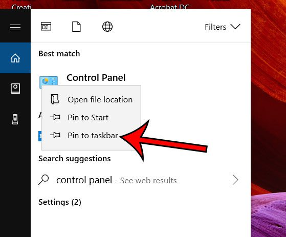 pin the control panel to the taskbar in windows 10