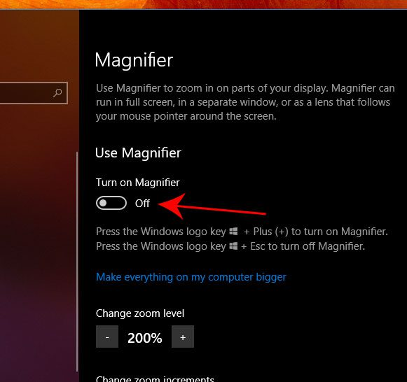 how to turn on the magnifier in windows 10