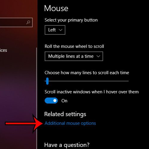 choose the additional mouse options link