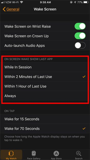 choose how long apple watch opens to app after last use
