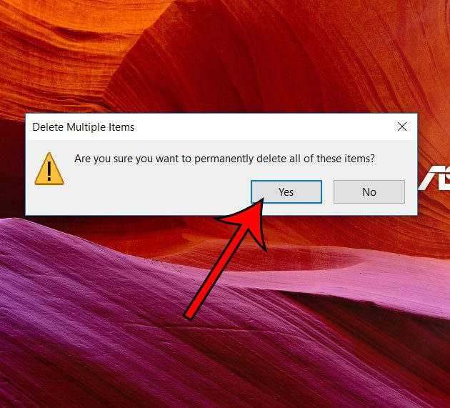 how to delete recycle bin items