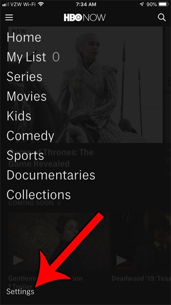 hbo now settings