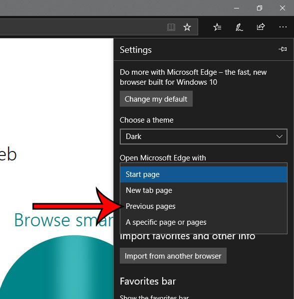 how to open microsoft edge with pages that were open when it last closed