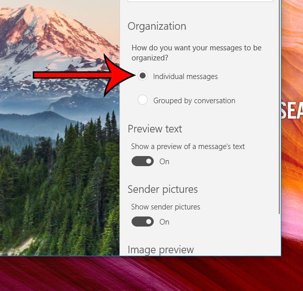 how to turn off conversation view in windows 10 mail