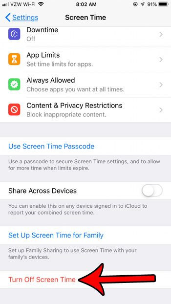 how to turn off screen time on an iphone 7