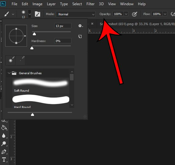 adjust brush settings