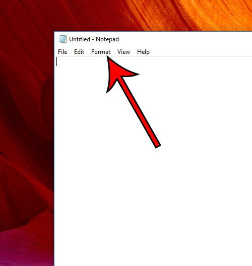 click format tab in notepad