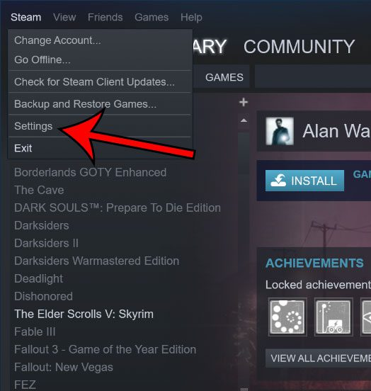 open steam settings