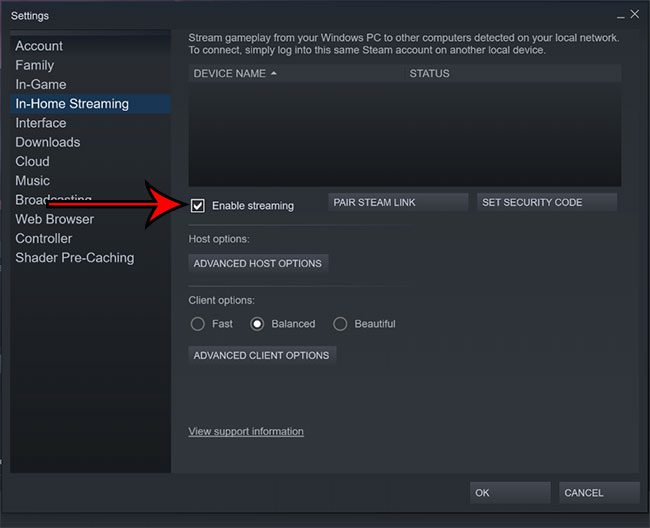 enable in home streaming in steam