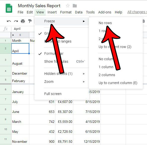 how to stop freezing rows in google sheets