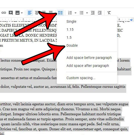 how to change spacing in google docs