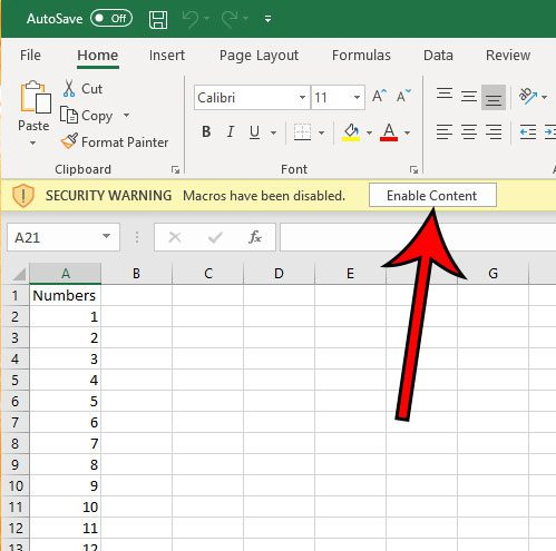 how to enable macros to run in an excel sheet