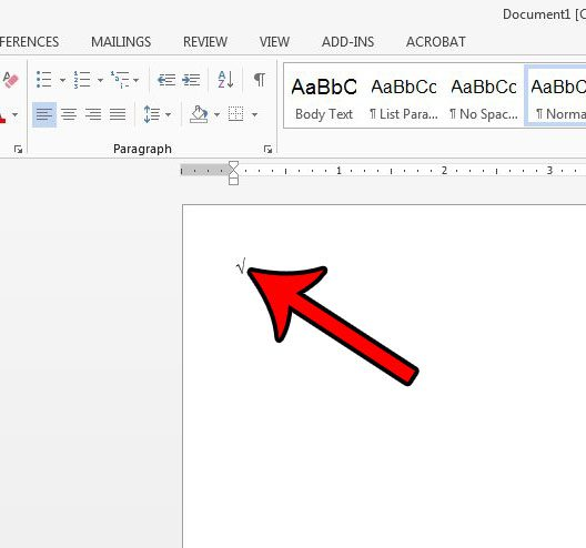 add square root symbol in word with keyboard shortcut