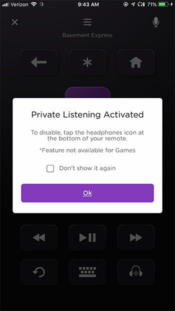 private listening mode activated